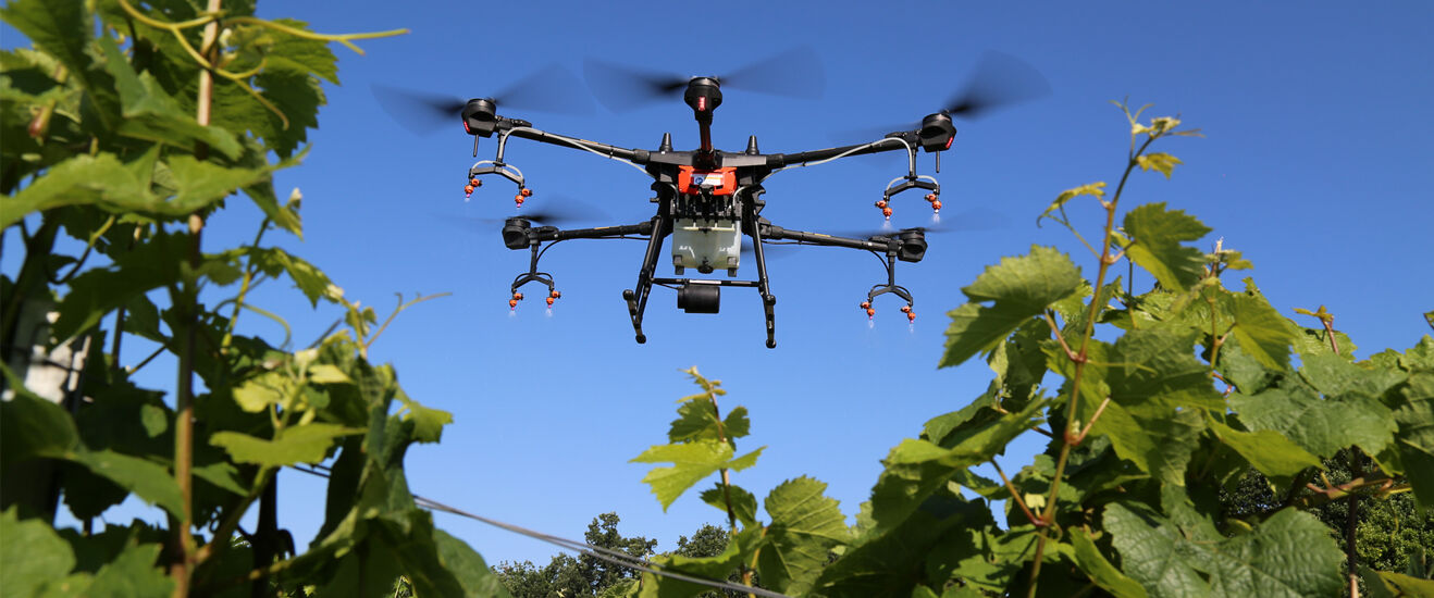 Spray drone with drift reduced Lechler agricultural nozzles