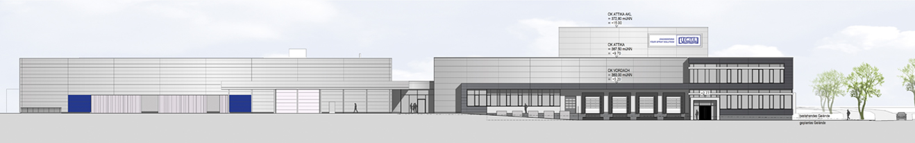 Lechler new building logistics center and production (west view)