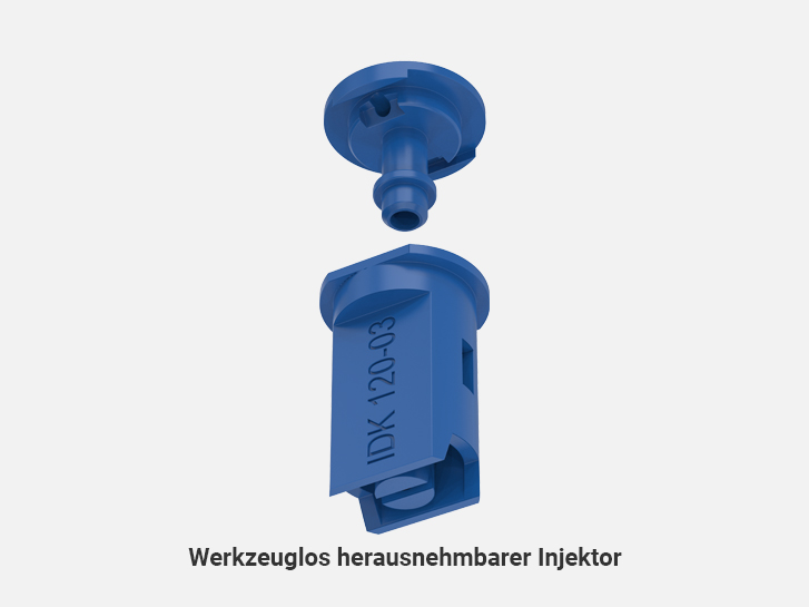 Toolless removable injector of Air-injector flat spray compact nozzles IDK