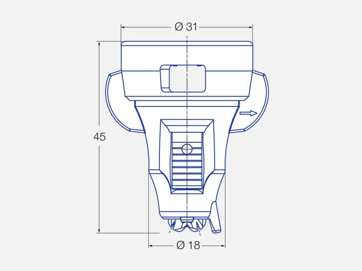 Asymmetrical twin flat spray air-injector nozzles IDTA, engineering drawing