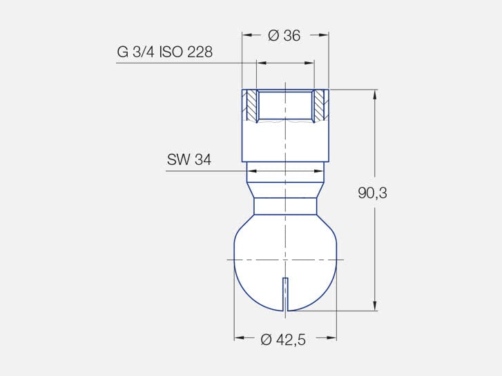Rotating tank cleaning nozzle MiniSpinner, double ball bearing mounted, engineering drawing